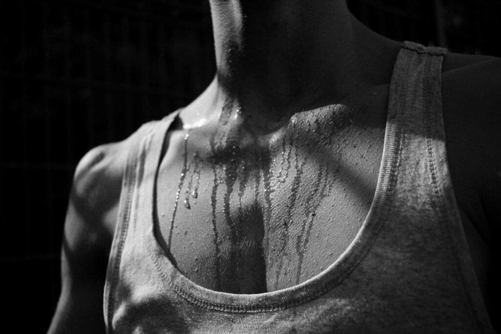 Male sweating post workout