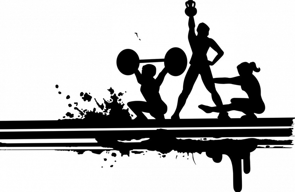 Workout silhouette, weight lifting, nutrient timing