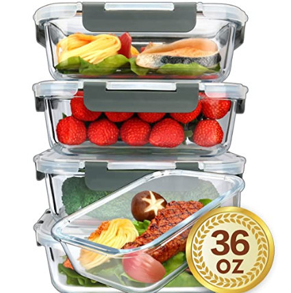 Microwave-safe meal prep containers - glass meal prep containers