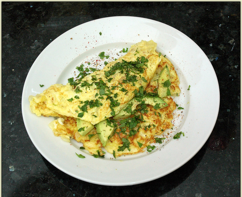 How to make a healthy omelette - avocado omelettes with herbs on a plate
