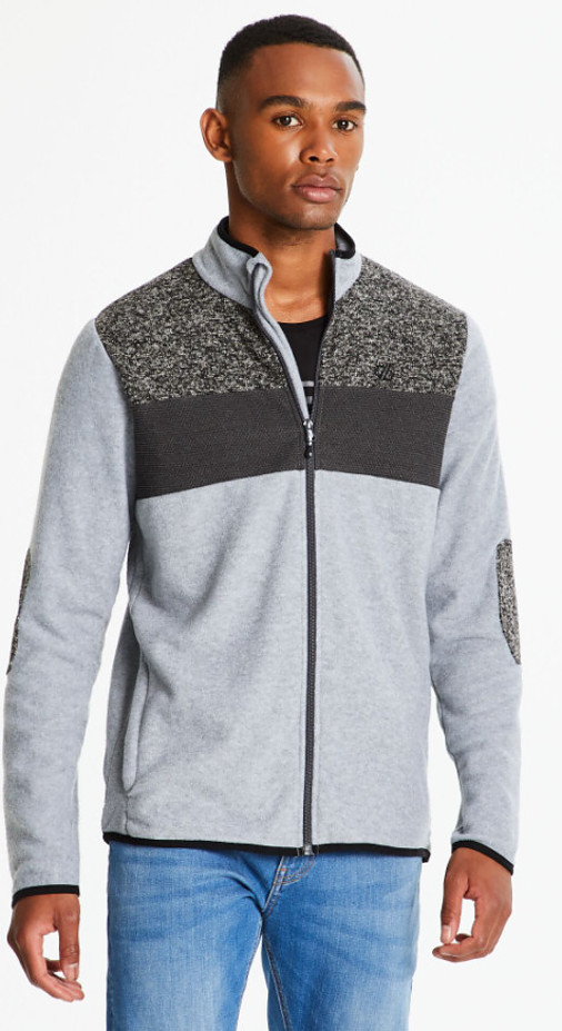 Hiking gifts for men - Men's Incluse Full Zip Knit Effect Fleece Ash Marl