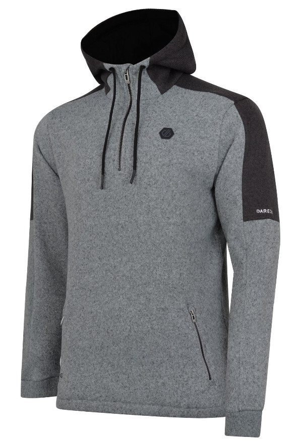 Hiking gifts for men - Men's Comply Half Zip Hooded Fleece Ash Charcoal Grey Marl