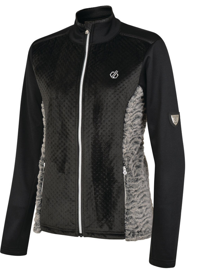 Hiking gifts for women - Women's Impearl Full Zip Faux Fur Luxe Stretch Midlayer Black Charcoal